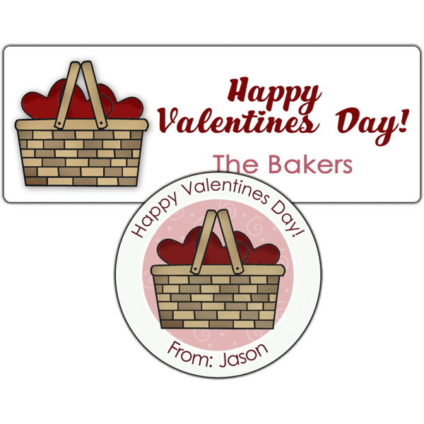 Basket of Red Hearts Stickers
