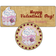 Pink Cupcake Stickers