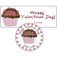 Valentine Chocolate Cupcake Stickers