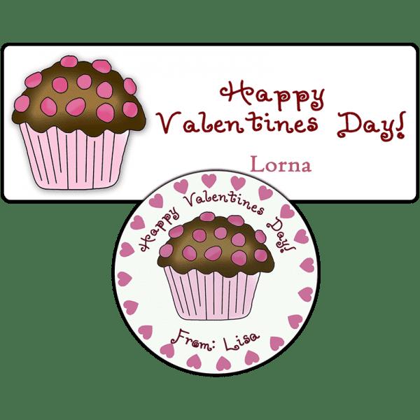 Valentine Chocolate Cupcake Stickers