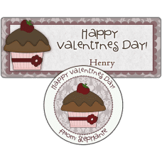 Strawberry Topped Cupcake Stickers