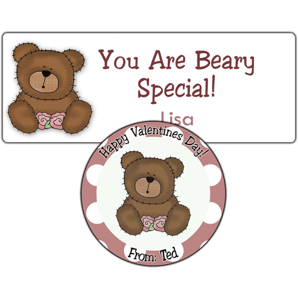 Pink Roses Teddy Bear Stickers