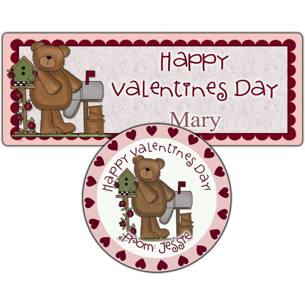 Mailbox Heart Bear Stickers