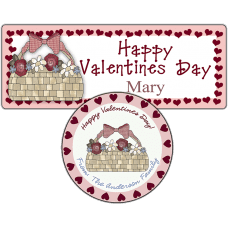 Basket of Roses Hearts Stickers