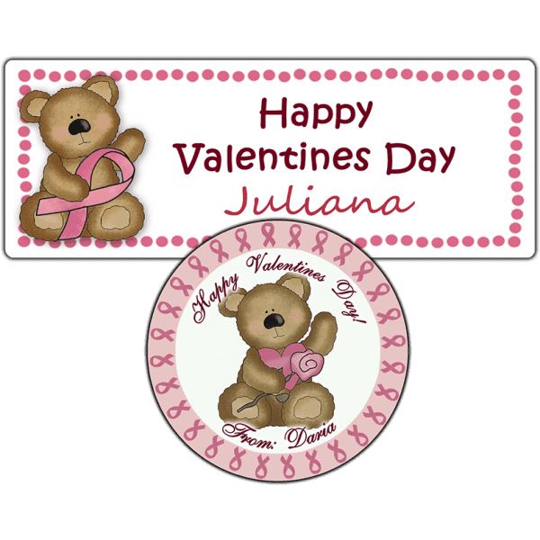 Pink Ribbon Valentine Bear Stickers