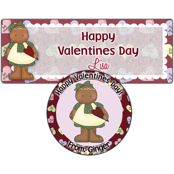 Valentine Ginger Girl Stickers