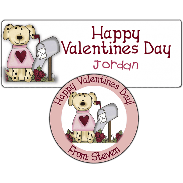 Valentine Mailbox Puppy Stickers