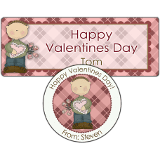 Argyle Valentine Boy Stickers