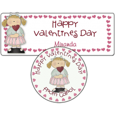 Heart Lollipop Girl Stickers