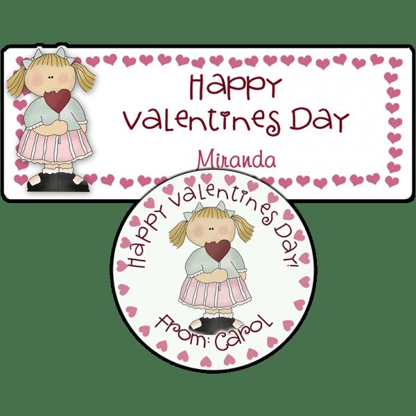 Heart Lollipop Girl Stickers