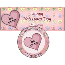 Be Mine Candy Heart Stickers