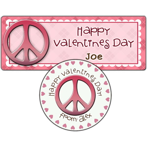 Valentine Pink Peace Sign Stickers
