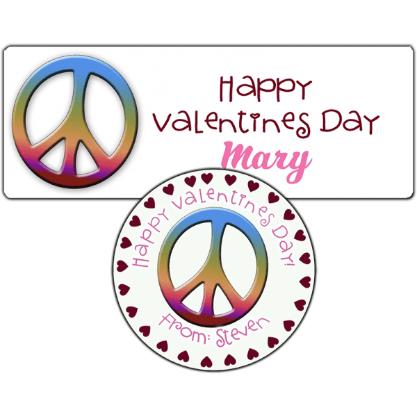 Rainbow Valentine Peace Sign Stickers