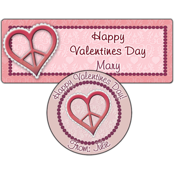 Pink Valentine Heart Peace Sign Stickers
