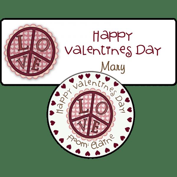 Valentine Love Peace Sign Stickers