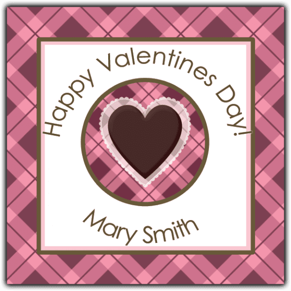 Argyle Valentine Heart Square Sticker