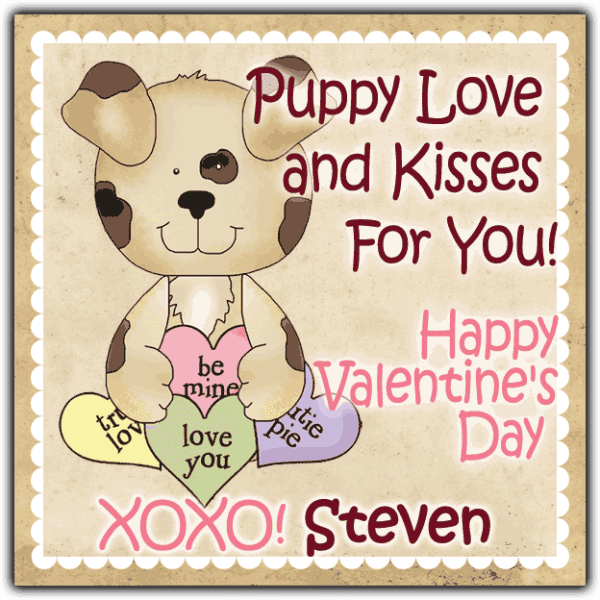 Candy Heart Puppy Square Label