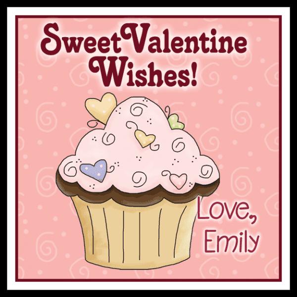 Valentine Candy Hearts Cupcake Square Sticker