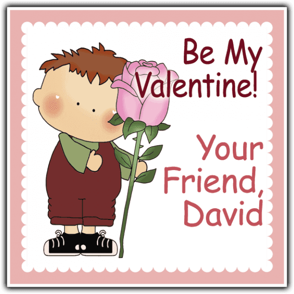 Valentine Boy with Rose Square Sticker