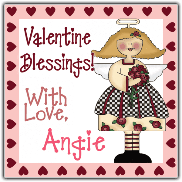 Red Hearts Angel Square Sticker