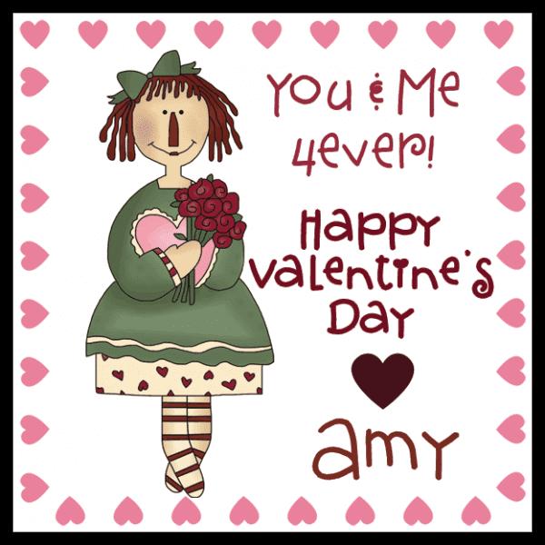 Pink Hearts Annie Square Sticker