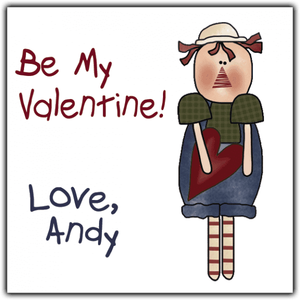 Valentine Wishes Andy Square Sticker