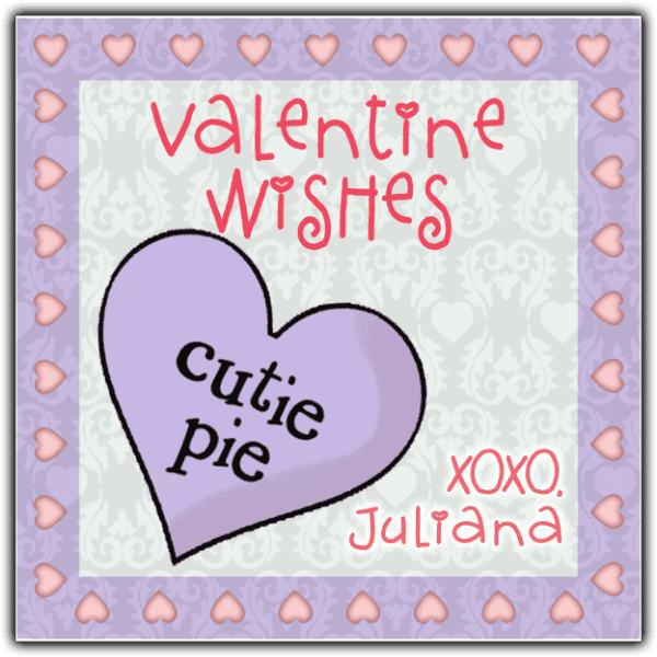 Cutie Pie Candy Heart Square Sticker