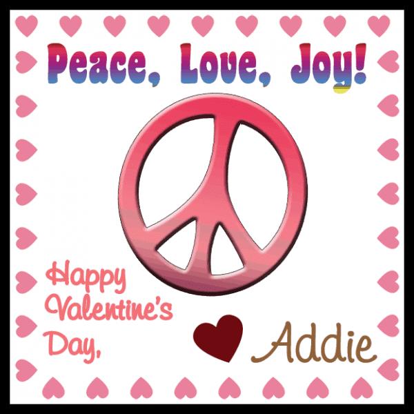 Pink Valentine Peace Sign Square Sticker