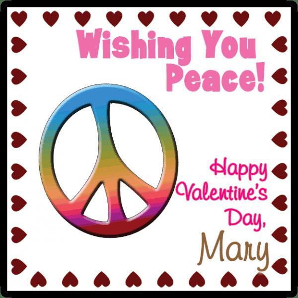 Rainbow Valentine Peace Sign Square Sticker