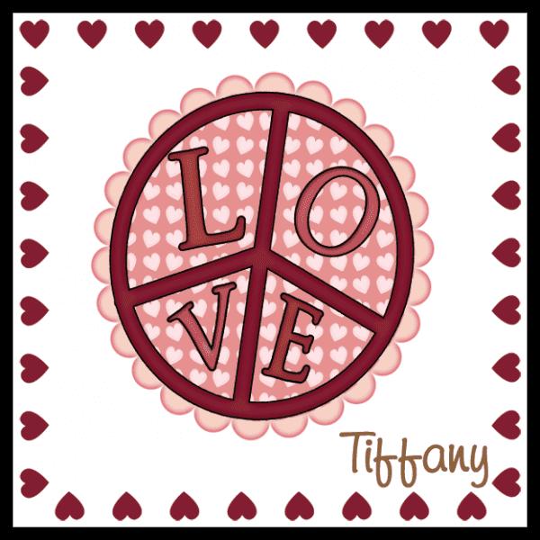 Valentine Love Peace Sign Square Sticker